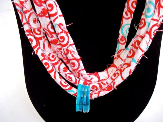 Summer Red Necklace, Handmade Skinny Necklace, Modern Red Infinity Necklace, Pretty Aqua and Red Necklace