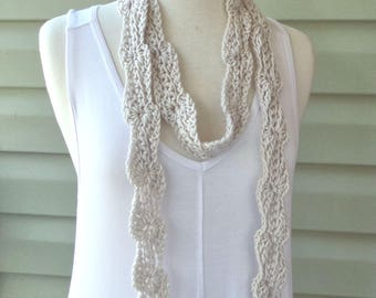 Long Skinny Scarf, Spring Scarf, Crochet Scarf - Choose Your Color