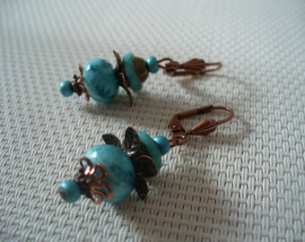 Bronze, copper and turquoise earrings