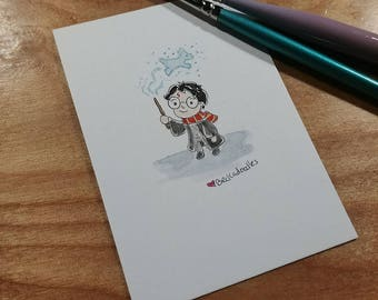 OOAK Mini Doodle Painting of Harry Potter