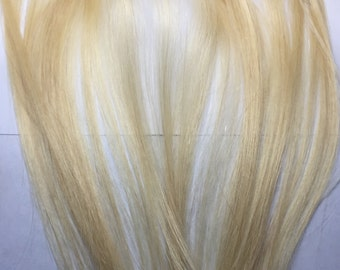 Extra Clip in Remy Human Hair Extensions Streak Bleach Blonde 1 Piece Strip for You 15 grams 14 inches long Hair Filler One Piece Clip on