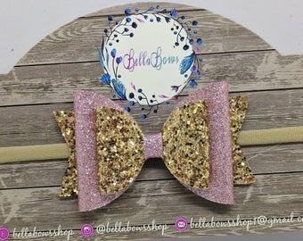 "Pink & Gold Glitter Hair Bow-Alligator Clip-Baby Headband-Photo Prop-Chunky Glitter-Fine Glitter-Toddler Hair Bow-3.5"" Hair bow"