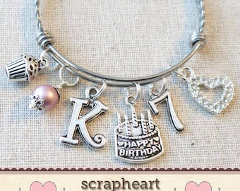 7th BIRTHDAY GIRL Birthday Charm Bracelet 7 Year Old Daughter Gift Idea