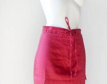 Red skirt-petticoat skirt--red summer skirt-red classic pencil skirt-Natural fabric ramie skirt-women's clothing