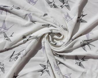 1 Meter Sheer Chiffon Fabric CH23C - Barn Swallow Bird Design