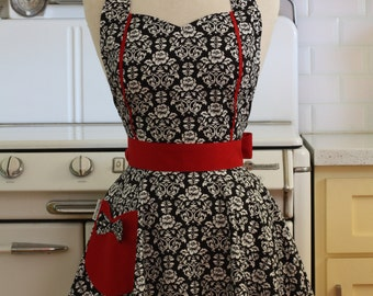 Retro Apron Black and White Floral Damask with Red MAGGIE