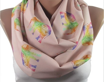 CHRISTMAS Gift For Her Elephant Scarf Animal Infinity Scarf Bohemian Elephant Print Scarf Boho Scarf    Gift for  Sister Aunt Gift For Mom