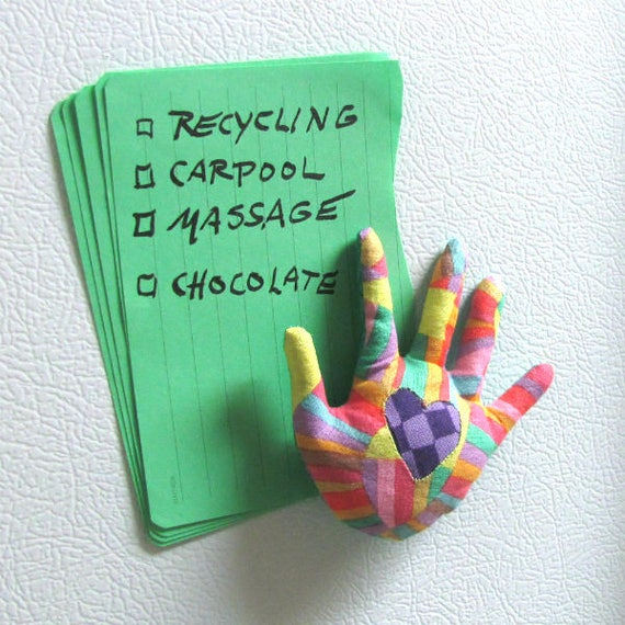 "NEW! ""HAND-Maggie"" ~ Fabric Fridge Magnet ~ Ready to Ship"