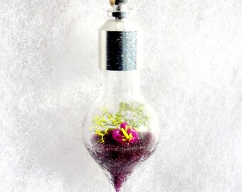 Natural Jewelry, Terrarium Necklace, Purple Flower Pendant, Glass Pendant Necklace, Jewelry Necklaces Handmade