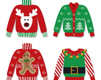 Ugly Sweater - Shaped Christmas Party Small Paper Cut Outs - Holiday Party DIY Decoration Kit - Tacky Sweater Party - 24 pc.