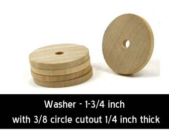 Unfinished Wood Washer Round - 1-3/4 in diameter and  7/32 inches thick  with 1/4 inch hole wooden shape (WW-BT5825)