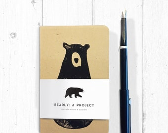 Bear : Moleskine journal - Unique lino print