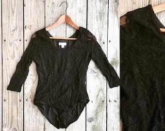 Vintage 90s black floral lace leotard