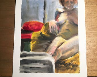 Original Oil Painting Figure Study on Canvas Sheet, 9in x 11in