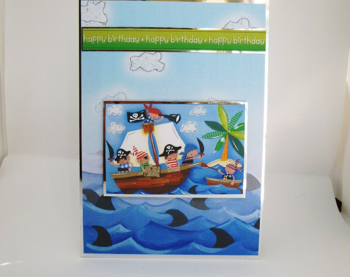 Pirate Boat Card, Handmade Card, Boys Card, Personalise It, Card For Special Boy, Any Age, Card For Son, Card For Brother