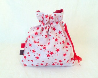 White background and red stars storage bag, pouch, white