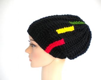 Rasta hat with chopped stripes on the side, Jamaica beanie, dreadlock tam, dreads