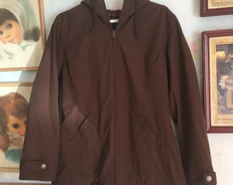 Vintage 1990s Women's Brown Plaid Hooded Spring Fall Coat Jacket! Size M