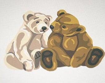 Teddy Bear Needlepoint, Bears Needlepoint Designs, Needlepoint, Needlepoint Canvases, Needlepoint Bears, Bear Designs, Two Bears Needlepoint