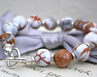Fire Agate bracelet with Silver toggle closure