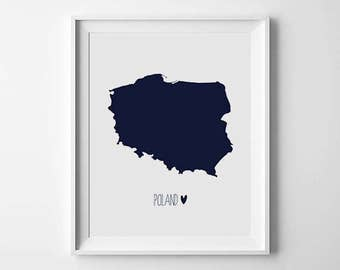 Poland Map Print, World Map Print, Navy, Country home decor, Travel decor, map printable, Digital print, Instant Download, Map Art