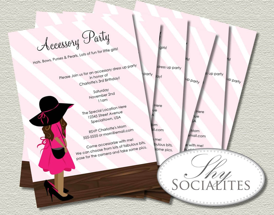 Little Girl Dress Up Party Invitations Brunette Fashion