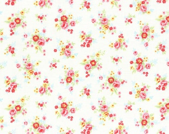 White Tiny Rose Bouquet Cotton Fabric from the Antique Floral Pastel Collection by Lecien Fabrics