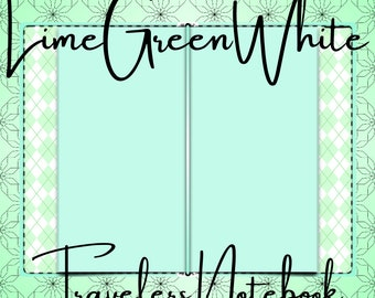 Digital LimeGreenWhite Travelers Notebook