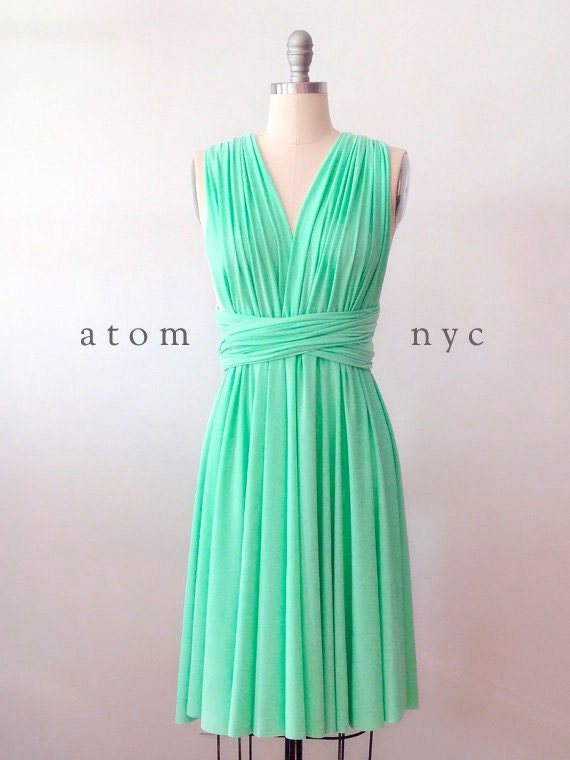 Green Mint SHORT Infinity Dress Convertible Formal Multiway