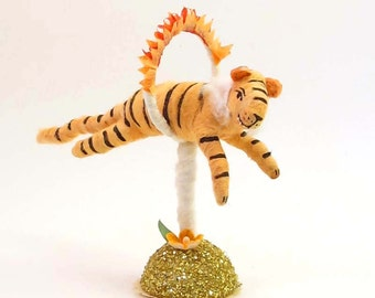 Vintage Inspired Spun Cotton Fire Jumping Tiger Figure (MADE TO ORDER)