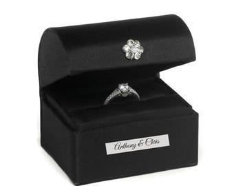Personalized Ring Bearer Box White or Black Proposal Engraved Satin Alternative Ring Bearer Pillow Custom Wedding Rings Bearer Presentation