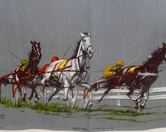 TROTTING Savitt Tea Towel/TROTTING Tea Towel Irish Linen/Ulster Horse Tea Towel/Sam Savitt Horses/Linen Horse Tea Towel/Sam Savitt