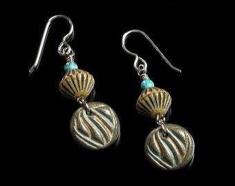 Earthy Dangle Earrings, Rustic Embossed Clay & Glass Bead Earrings, Unique Boho Tribal Ethnic Earrings, Unique Gift for Her, Womens Gift