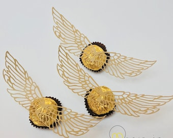 Golden Snitch Wings - Cut and Print Files - Harry Potter Themed Birthday Party Accessory - Ferrero Rocher Snitch - Printable