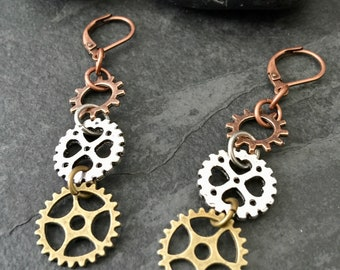 Steampunk Bicycle Gear Earrings, Statement Earrings / Bicycle Earrings, Bicycle Jewelry, Bike Earrings, Bike Jewelry, Steampunk Clothing