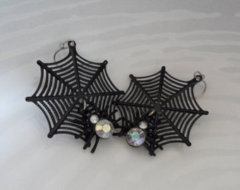 Spiderweb Earrings Black Spider Earrings Rhinestone Spider Web Earrings Vintage Halloween Spider Earrings Cute Halloween Jewelry Soft Goth