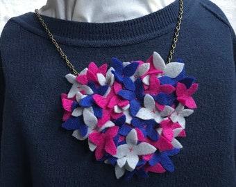 Felt Flower Necklace - Felt Bouquet