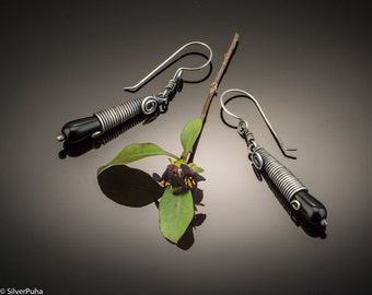 Black onyx drops silver earrings