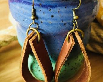 Leather loop earrings.