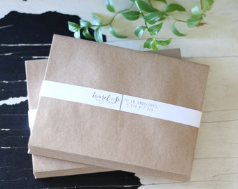 "Kraft Brown A7 Envelopes ~ Grocery Bag Envelope ~ Invitation Envelope ~ Size 5 1/4"" x 7 1/4"" ~ qty 25"