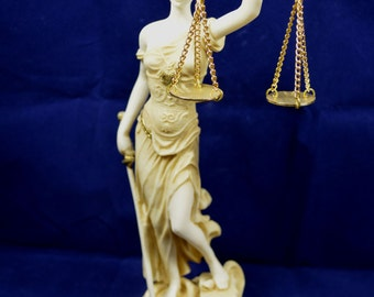 Themis sculpture Goddess of Justice artifact aged statue