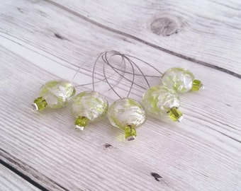 Set of 5, Knitting Stitch Markers, Lime Green Glass, Bead Knitting Markers, Made with Recycled Beads, Snag Free, Knitting Accessory Gift