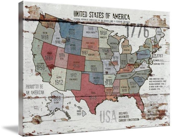 "The United States of America Map II . Canvas Print by Irena Orlov 24"" X 36"""