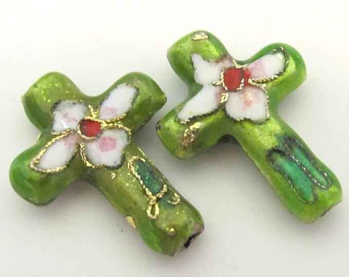 2 pieces - Green cloissone cross beads - BD175