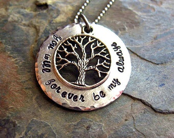 Hand Stamped Family Tree Necklace, Mother's Day Gift, You Will Forever Be My Always, Mom Jewelry, Family Necklace, Custom, Personalized