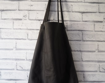REAL CLASSIC grey brown unlined leather tote bag handmade