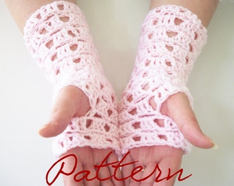 Crochet Pattern: Square Lace Fingerless Gloves Long Lacy Gloves