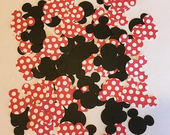 100 1 inch Black and Red And White Polka Dot Minnie Ears Cricut Die Cuts