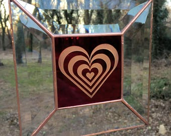 Contemporary Stained Glass Panel Suncatcher - Etched Red Heart (PLG123)