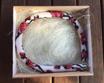 Handmade Beaded Necklace with Box Ukrainian Crochet Ethnic Jewelry Boho Style